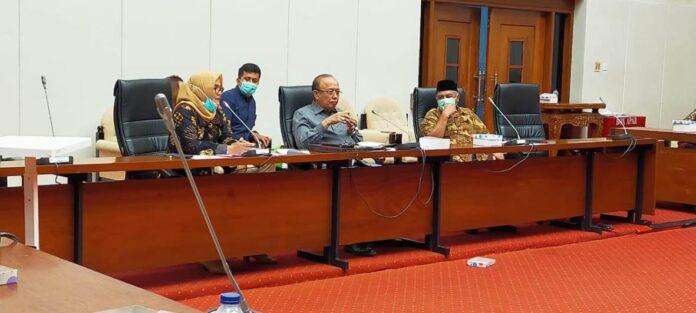 Susilowati (kiri) mengungkapkan maksud kedatangan rombongan Komisi Komisi B DPRD Tulungagung saat RDP dengan Komisi IV DPR RI, Selasa (24/11).