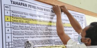 Baliho pengumuman tentang tahapan pilwabup sudah terpasang di ruang lobi Kantor DPRD Tulungagung.
