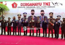 Sofyan Heryanto (keempat dari kiri) berfoto bersama seluruh peserta upacara HUT TNI ke-76 yang dilakukan secara virtual di Makodim 0807 Tulungagung, Sekasa (5/10).