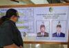 Contoh foto cawabup di surat suara sudah ditempel di papan pengumuman di lobi Kantor DPRD Tulungagung.